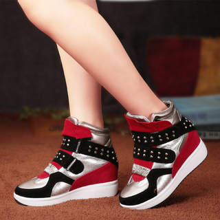 MI Ka 2015 in the Korean version of the stealth high shoes 8CM 2015 new rivet Velcro casual women's shoes