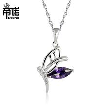 925银紫水晶蝴蝶项链 女日韩首饰 短款锁骨链时尚吊坠百搭颈链