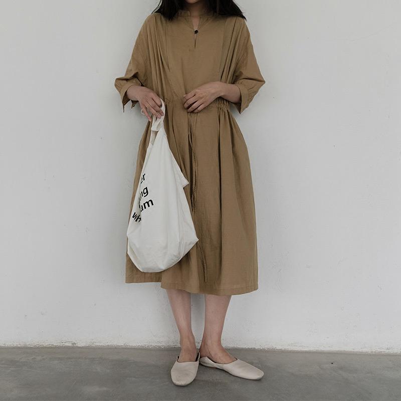 MMCC定制2018新款简约宽松系带衬衫裙卡其色休闲中长款连衣裙女