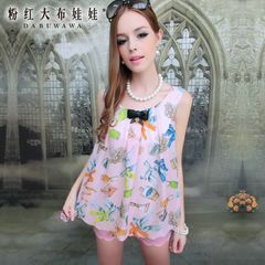 Chiffon Shirt Pink large dolls 2015 autumn new ladies ' pink lanterns print sleeveless chiffon shirt women