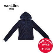 Westlink/West New 2015 winter recreation women's Hooded solid color fitted velvet suit jacket