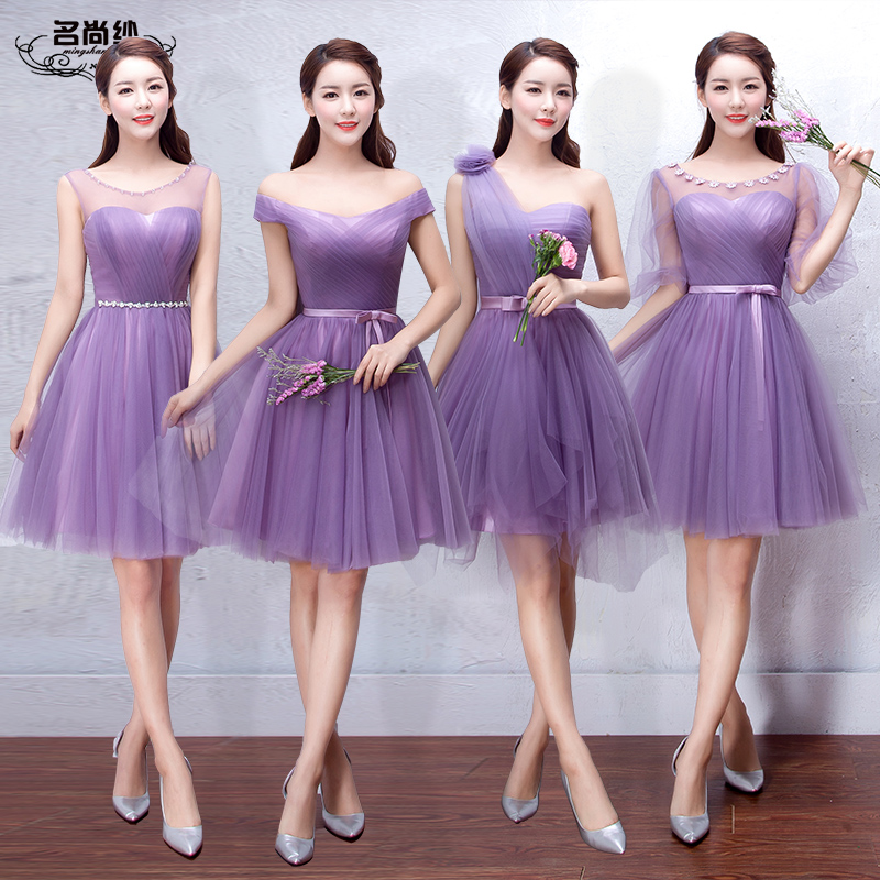 Bridesmaid Dresses short summer 2016 Korean purple Bridesmaid Dress ...