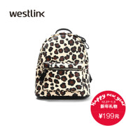 Westlink/West spring 2016 new rivet female Leopard print backpack College wind travel backpack