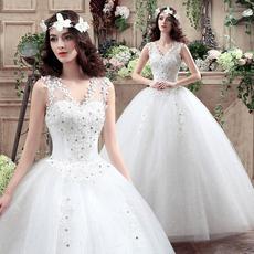 婚纱礼服2016新款新娘齐地婚纱双肩定制一字肩婚纱韩式婚纱蓬蓬