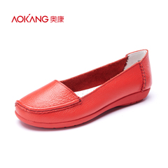 Aokang shoes spring 2016 new minimalist style within the shallow, circular, head increase comfort leather women's shoe