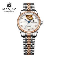 瑞士名爵MANJAZ手表女士商务休闲时尚手表进口机械高档女表7217U