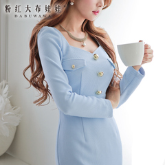 Long sleeve dress big pink dolls 2015 spring clothes fashion slimming new tide light blue dress