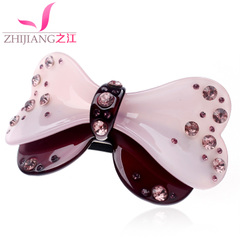 Zhijiang hair clip spring clip bow rhinestones top clamp horizontal clamp tiara ponytail clip bangs hairpin hair accessories
