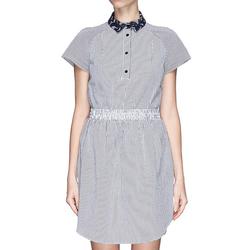宝丹利短袖连衣裙欧美高端大牌女装2016新款潮春装格子衬衫裙子夏