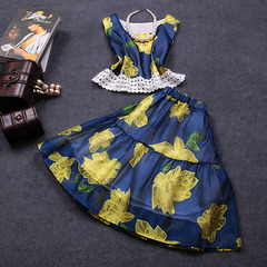 2015 summer new printed chiffon two-piece dress suits