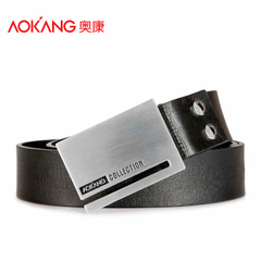 Aucom leather new men smooth buckle leather belt belts leather casual belt bag-mail