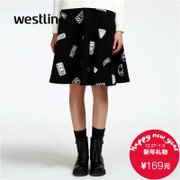Westlink/West New 2015 winter letter slogan printed skirt dress in black and white a-umbrella