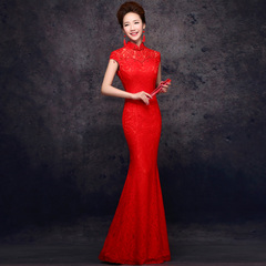 Purple Elf 2015 new bride wedding toast clothing her fishtail long slim red dress-