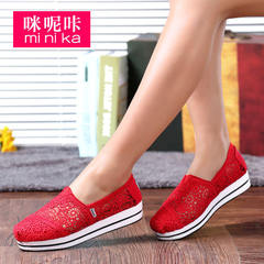 Microphone clicking low cut lace air platform shoes spring/summer 2016 female Korean sweet canvas platform wedges women