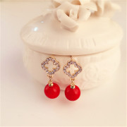 Good Korean cute four leaf clover rhinestone ear studs earrings women Korea fashion red earrings ear jewelry bag-mail