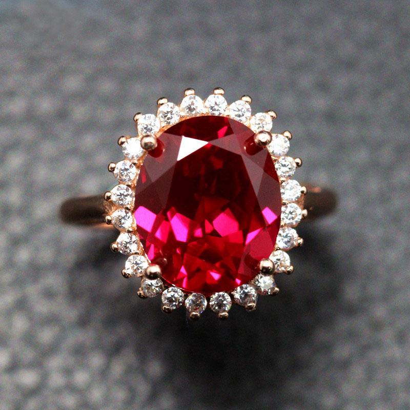 皇室王妃缅甸红宝石戒指女首饰925纯银镀18K玫瑰金开口指环可调节