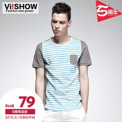 Viishow2015 summer dress new short sleeve t shirt cotton solid color stripe crew neck short sleeve t-shirt xsy