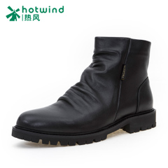 Hot air men's fall/winter spring recreation high shoes black of England Martin shoes men's short boots with round head H44M5409