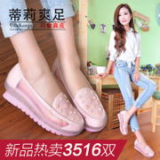 Shoes spring/summer 2015 new heavy-bottomed shallow shoes mesh for a comfortable breathable leather platform heeled shoes rivet