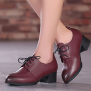 2015 new spring and autumn wind pointed leather shoes UK laced with thick with deep low shoes in women's shoes