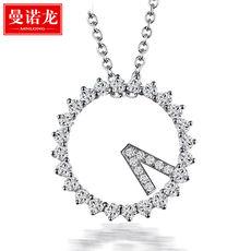 曼诺龙s925银项链女锁骨链520时间银吊坠配银链 时钟锆石微镶项坠