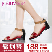 Zhuo Shini 2015 designer shoes summer Europe and open-toe chunky heels one strap Sandals 152034350