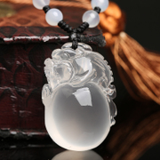 Three edge card treasure jinchan pendant Medallion natural milky white Crystal Toad woman brave men necklace jewelry