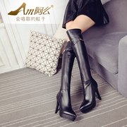 All leather waterproof pointed fashion boots sexy high heel real leather women boots