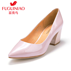 Fuguiniao shoes autumn shoe leather chunky heels women's shoes in Europe and work shoes