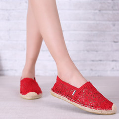 MI Ka 2015 summer lace shoes girl shoes casual shoes flat feet lazy people hollow out knit fisherman shoes
