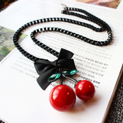 New versatile minimalist decoration long cherry pendant women sweater chain necklace chain Korea Korean fashion accessories