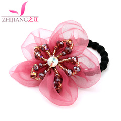 River of thick elastic rope Korea aprons crystal flower hair band hair ponytail hair bands tiara hair accessories