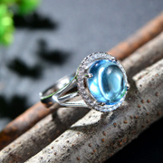 S925 silver Thai female Topaz Rings Gemstone Rings elegant rings silver jewelry