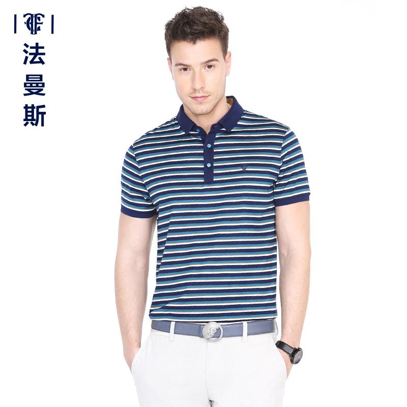 法曼斯2015夏季新款丝质翻领条纹宽松短袖T恤青年男士商务时尚T