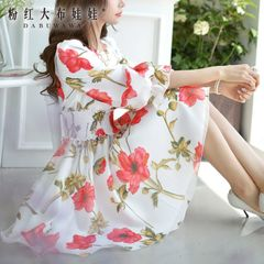 Print dress big pink dolls in the autumn ladies ' slim long slim waist long sleeve dress