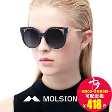 陌森太阳眼镜女2016新款莫森复古镂空猫耳朵可爱圆形框墨镜MS5007