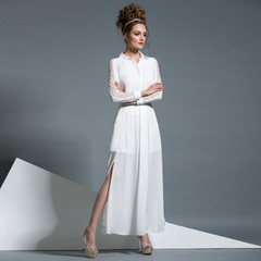 Spring elegance of lace stitching in Europe and America long sleeve shirts + side-slit long chiffon dress skirt white 2-piece 9156
