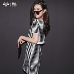Summer of seven space space OTHERMIX2015 new black and white stripe print short sleeve round neck dress