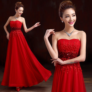 Toast clothing red with purple new stylish spring/summer 2015 long bride dress slim banquet evening dress