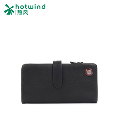 Hot new men's long bi-fold wallets first layer leather note clips snap solid color card packet 5112W5503