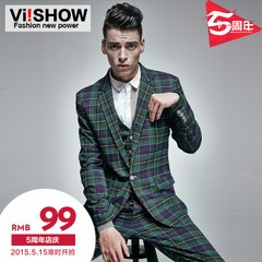 Viishow 2015 spring men's vests men's street fashion Plaid vest men's thin slim up vest