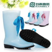 RAINBELT rain-belt new Crystal ladies fashion shoes high women's Korean version of rain water shoes warm