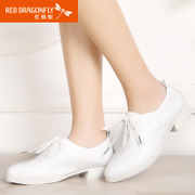 Red Dragonfly leather women's shoes spring 2015 new genuine fashion casual yinglunbuluoke shoes with lace