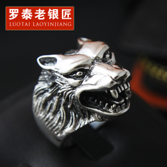 Chandos S925 silver jewelry Wolf head ring vintage old silversmith personality men Chao Thai Silver Wolf ring ring