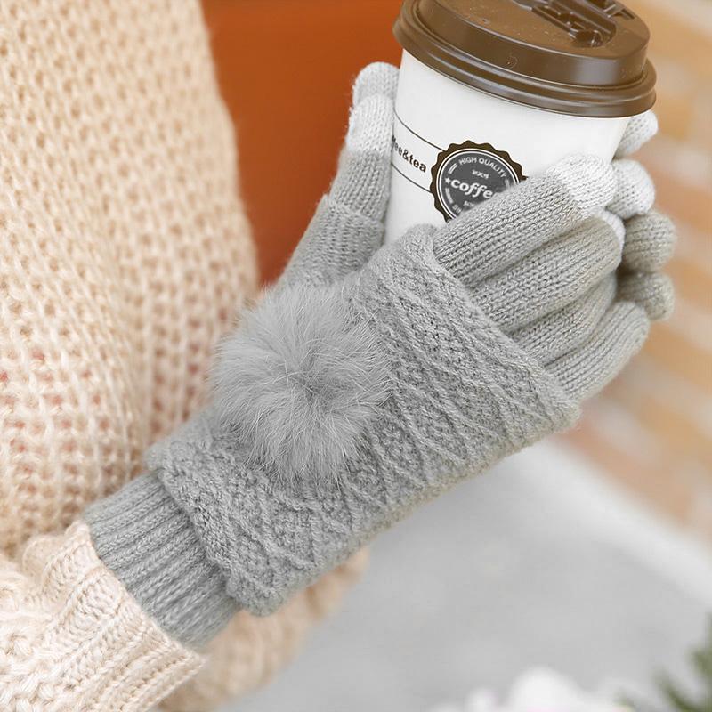 五指棉手套女冬季触屏针织毛线加绒加厚保暖韩版学生可爱半指骑行