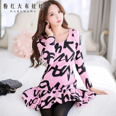 Small fields breathe sweet dress big pink doll summer 2015 new printing alphabet ruffled long sleeve dress
