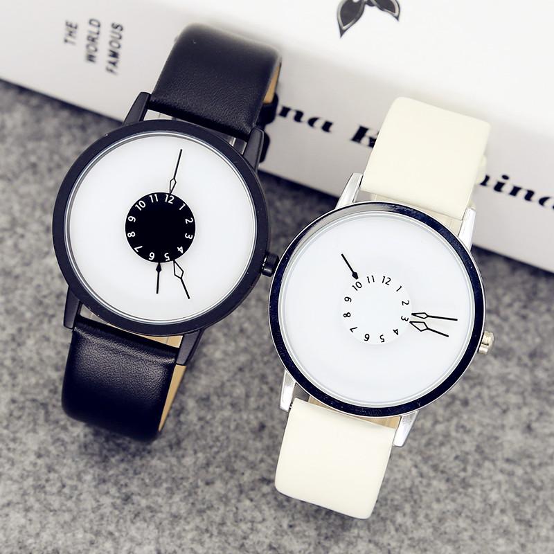 韩版时尚简约潮流原宿男女中学生创意手表男个性概念情侣手表一对