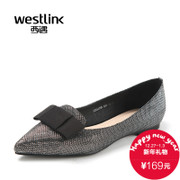 Westlink/West fall 2015 the new elegant Silver pointed bow light flat shoes women's shoes