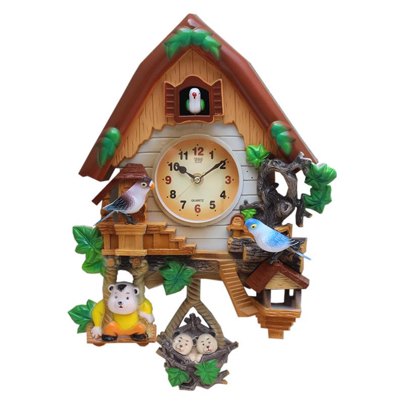 声控布谷鸟挂钟咕咕钟儿童房间卧室挂表卡通小鸟创意报时钟学生表