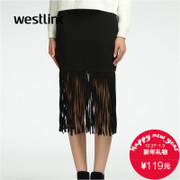 Westlink/West New 2015 winter dress in vintage tassel skirt bust hip pencil skirt women
